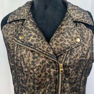 Chico's Leopard Print Biker's Jacket Vest